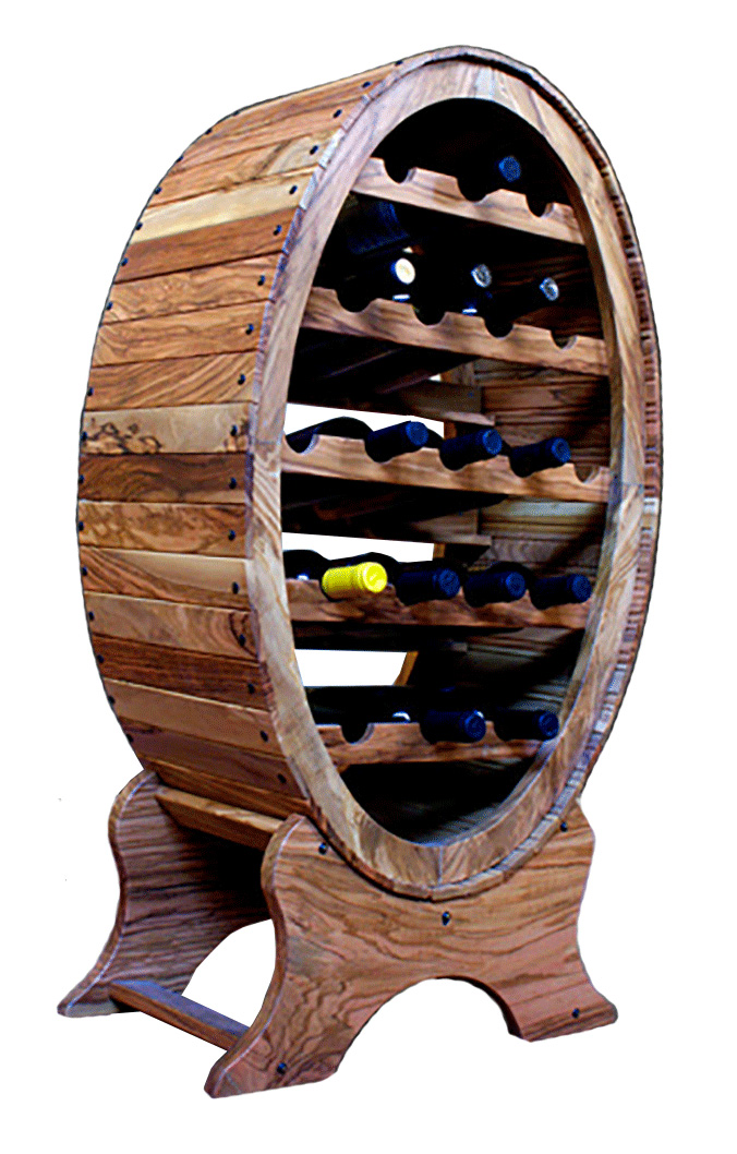 Cantinetta portabottiglie di vino in legno di olivo