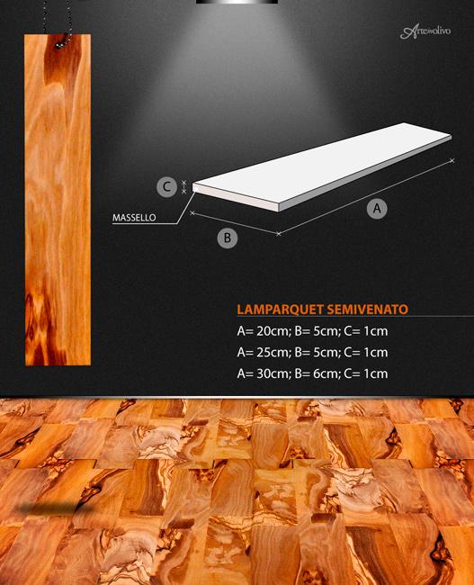Parquet in legno di olivo - Modello Lamparquet semivenato