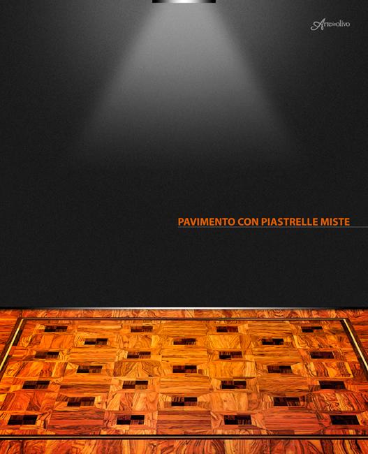Piastrella mista - Parquet in legno di olivo