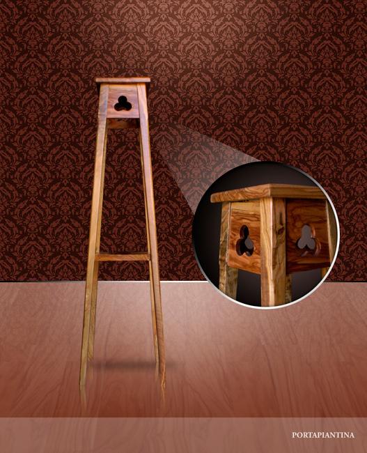 Tavolino in legno di olivo