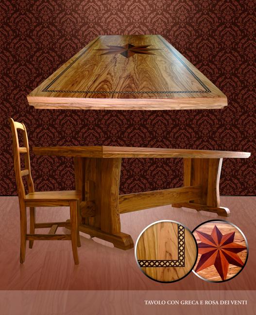 Tavolo con greca in legno di olivo