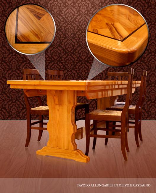 Tavolo allungabile e sedie in legno di olivo