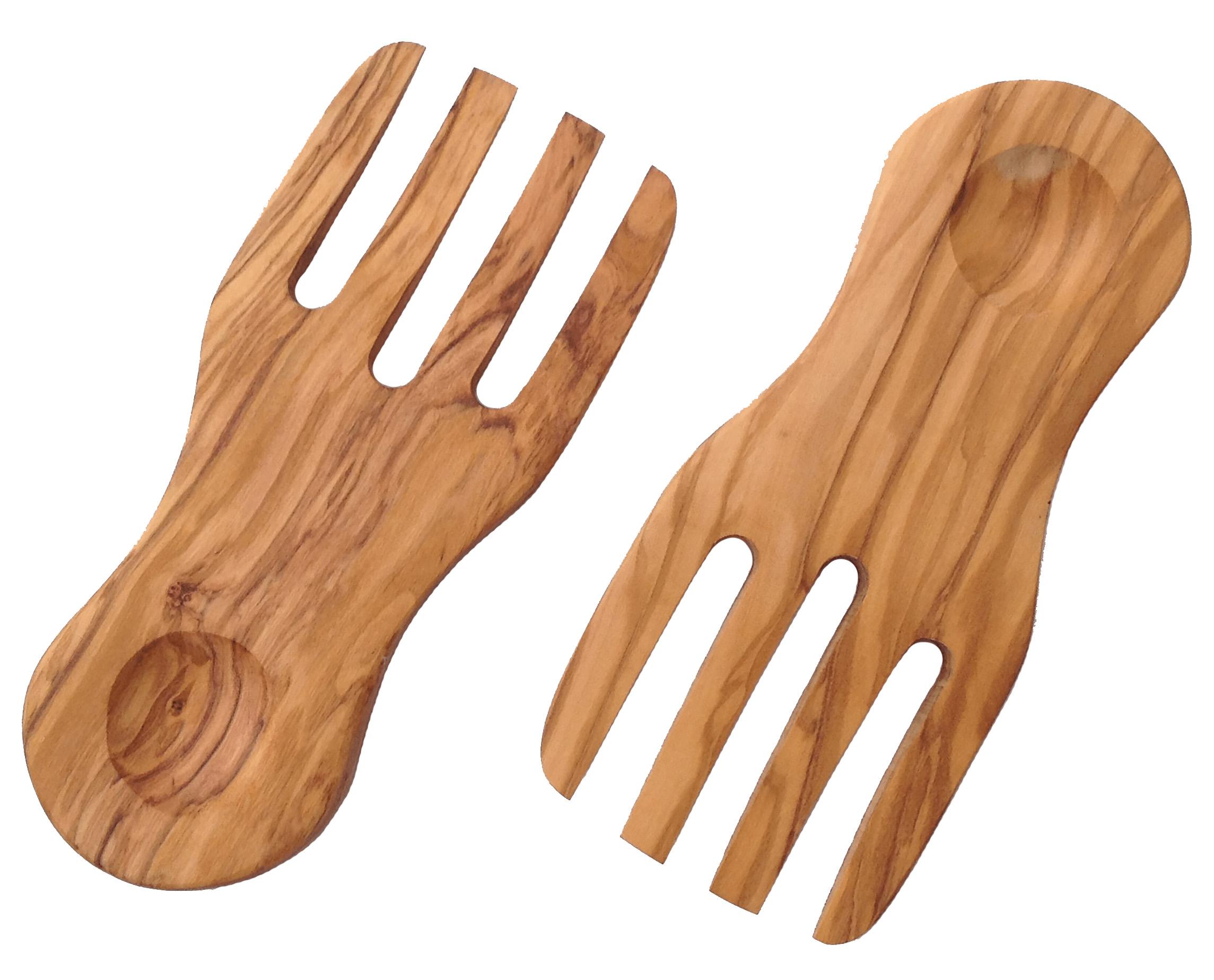 Forchette mani in legno di olivo per insalata