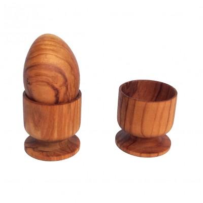 Portauovo e uovo in legno di olivo