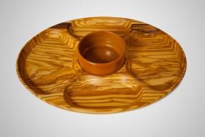 Antipastiera in legno di olivo con ciotola