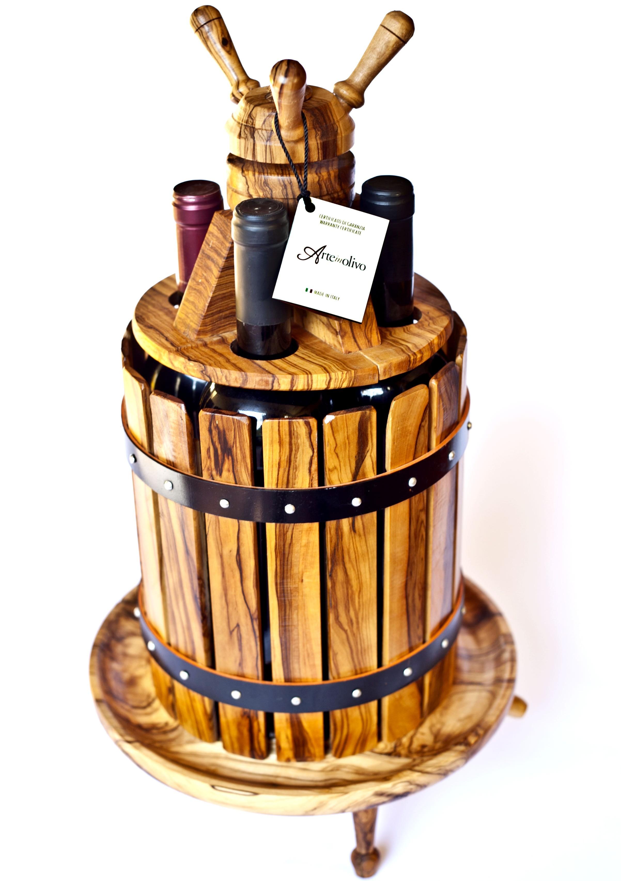 Torchio portabottiglie arte in olivo - Portabottiglie di vino in legno ...