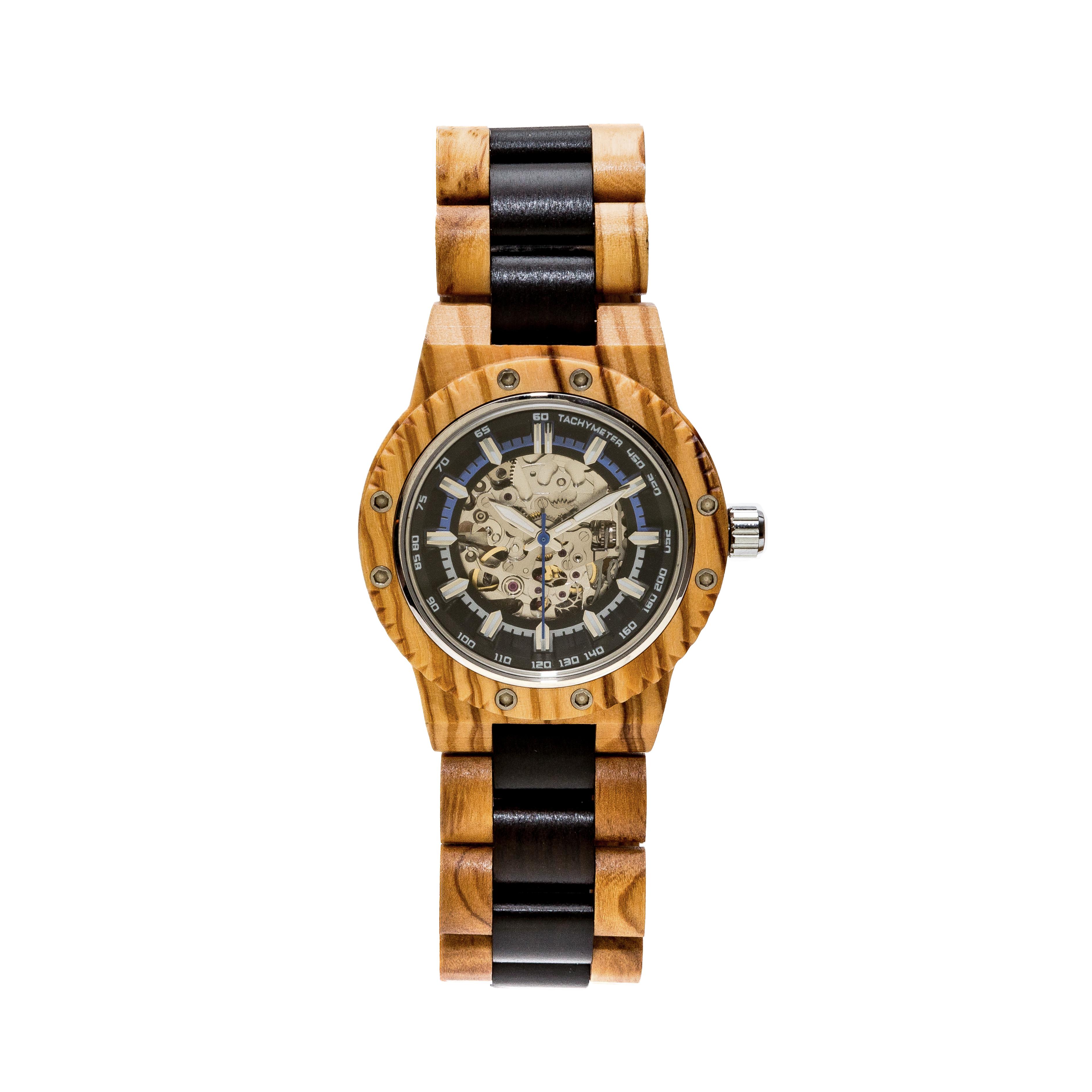 orologio automatico in legno di olivo ed ebano