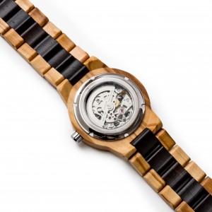 orologio automatico in olivo ed ebano