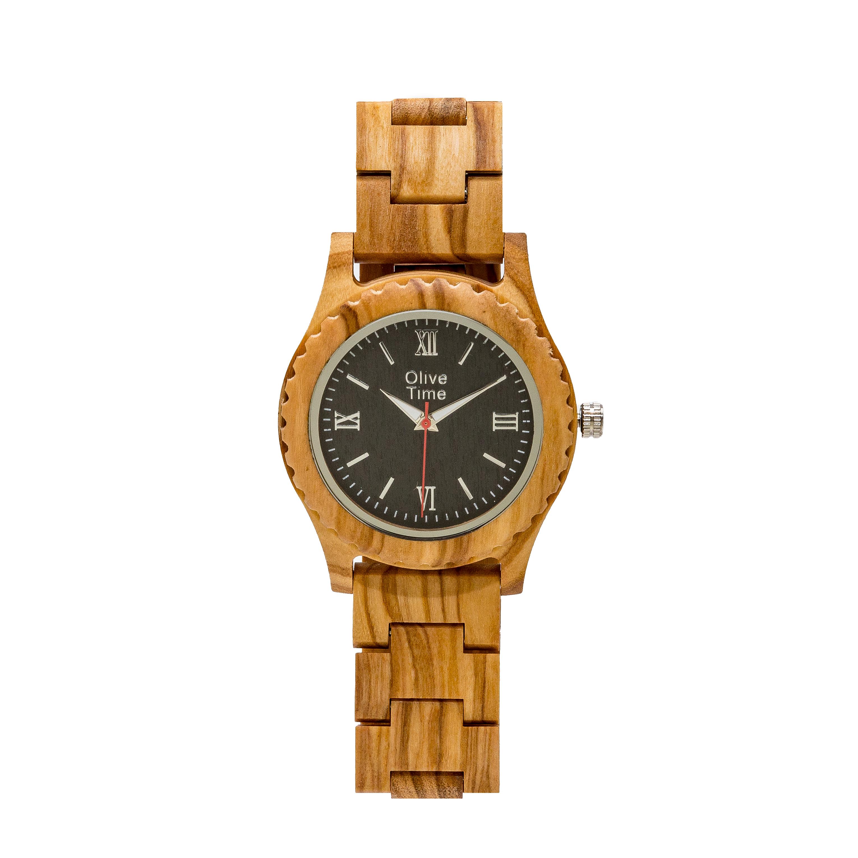 orologio da donna in legno di olivo
