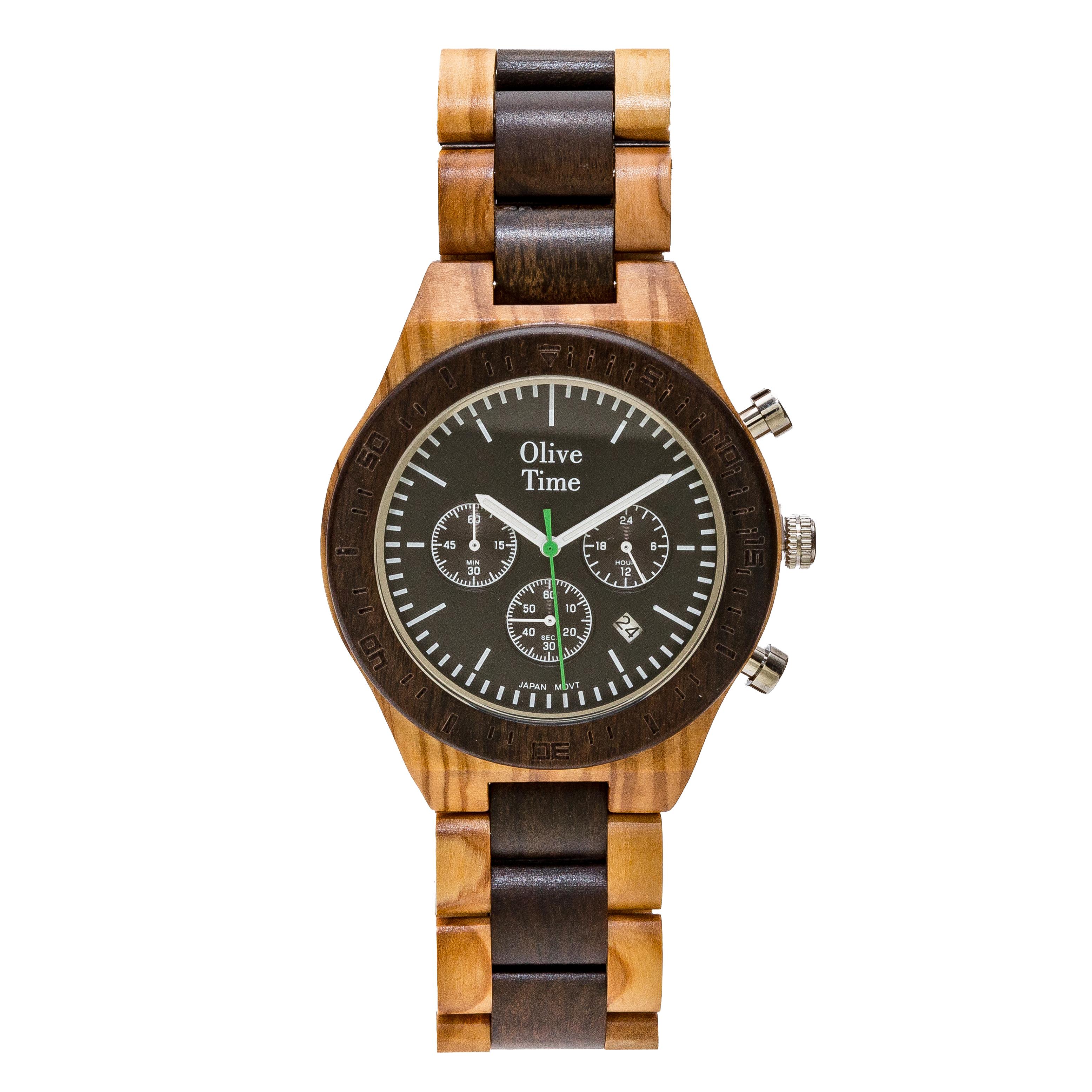orologio cronografo in legno di olivo e noce
